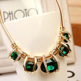 Wholesale Costume Jewelry Necklaces For Women - 2016 new Costume Jewelry Luxury Blue and Green Water Drop Design Created Crystal Necklace for Girl and Women free shipping