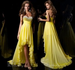 Wholesale Cheap Winters Dresses For Ladies - High Low Homecoming Dresses Sweetheart Elegant Beading Sequins Silver and Yellow Cheap Chiffon Prom Party Gown for Ladies Hot Sell