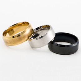 Wholesale Titanium Gold Alloy Ring - Wholesales European Style 8MM Stainless Steel Ring Band Titanium Silver Black Gold Classic Men's Statement Rings