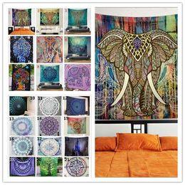 Wholesale Bath Mat Towelling - 21 Design Bohemian Mandala Beach Tapestry 150*130cm Hippie Throw Yoga Mat Towel Indian Beach Shawl Bath Towel YYA440
