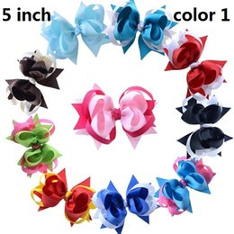 Wholesale Layer Ribbon Bow - 15% off! 2016 fashion 5 Inch 3 Layer Ribbon Boutique Bows With 6cm Clips Girls Toddler bow hair clip Baby Bow hairpin Hair Accessories 20pcs