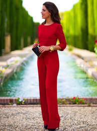 Wholesale Full Drain - 2016 New Autumn Women's Sexy Red Jumupsits Drain Back Empty Sleeve Siamese Trousers Casual Fashion Party Office Club Jumpsuits