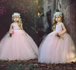 Wholesale Cheap Puffy Dresses - New Blush Pink Ball Gown Flower Girls Dresses 2018 Puffy Tulle Floor Length First Communion Dresses Girls Pageant Gown Custom Made Cheap