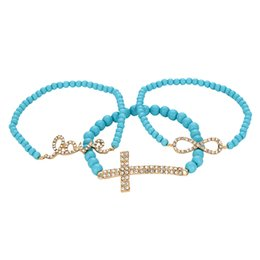 Wholesale Infinity Stretch Bracelet - Wholesale Factory Price Free Shipping Hot Sale Rhinestone Cross Infinity Love Pendant Colored Beads Stretch Bracelet
