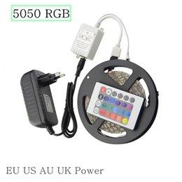 Wholesale Power Supply 16 - 5050 RGB LED Strip Set 300 Leds 12V 5M Not Waterproof Diode Tape add 24 Key Remote Controller 12V EU US AU UK Plug Power Supply