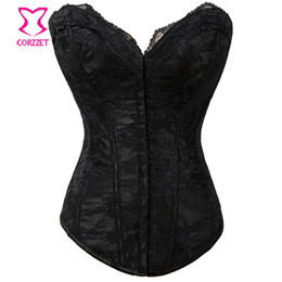 Wholesale Cheap White Lace Corset Top - Wholesale-Cheap Women Hook And Eye Satin & Lace Strapless Overbust Black Corset Top Sexy Corpetes E Espartilhos Slimming Bustiers&