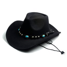 Wholesale red cowgirl - Wholesale-Men Women Fashion DIY Felt Fedora Hat Western Cowboy Cowgirl Cap Jazz hat Sun Hat Toca Sombrero Cap with leather band 10