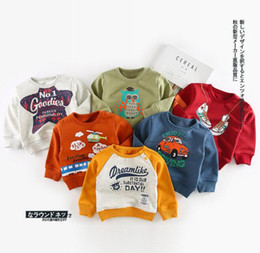 Wholesale Cartoon Baby Boy Clothes - INS NEW ARRIVAL boys girl 100% cotton long Sleeve cartoon letter shoes owl print hoodies child clothe pullover outerwear baby kids hoodies