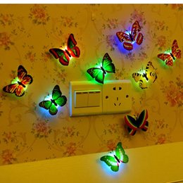 Wholesale Tv Wall Switch - TV Wall Decoration Butterfly Lovely Creative Color Changing ABS LED Night Lights Lamp Beautiful Home Decorative Wall Night lights