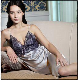 Wholesale Womens Silk Lace Lingerie - Wholesale- Womens Sexy Lace Nightwear Dress Imitated Silk Sleepwear Robe Lingerie Stock