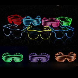 Wholesale Neon Glasses Frames - EL Glasses EL Wire Fashionable Neon LED Light Glowing Sunglasses Rave Costume Party DJ Multiple Colors Black Frame