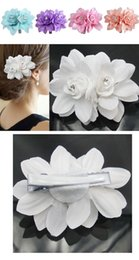 Wholesale Wedding Flower Clips China - Fashion Womens flower Hair Clips Lady Girl Barrettes Hairpins Accessories Fabric Metal Wedding Birthday Party Gift