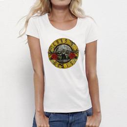 rosa applique Sconti All'ingrosso - USAprint Abbigliamento Guns n Roses Rock Roll Magliette Donna Top Tee GNR Maglietta bianca Femme Cotton Hip Hop Vintage Summer Style Cheap