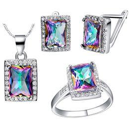 Wholesale mystic fire jewelry - 4PCS SET 3ct Natural Mystic Fire Rainbow Topaz Engagement Wedding Jewelry Set Women Genuine 925 Sterling Silver 2016 New Fine Jewelry Hot