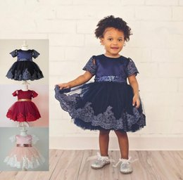 Wholesale Trendy Baby Colors - New Trendy Baby Hot Dress Formal Lace Balll Gown Princess Evening Dresses Summer Vestido Bow Sequin Belt First Christmas Wedding 3 Colors
