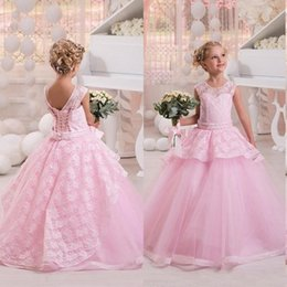 Wholesale Kids Corsets Dresses - Princess Pink Lace Tulle Flower Girl Dresses 2017 Sheer Jewl Neck Zipper Corset Kids Dress for Wedding with Beaded Belt Custom Made