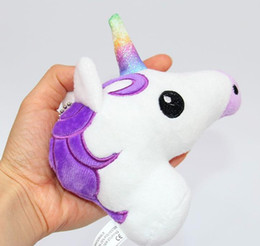 Wholesale Horse Cloth - Unicorn Plush toys Crystal Soft Stuffed Rainbow horse Key Pendant Kids gifts Cartoon Bag hanging accessories 2017 Hot Pink Purple 13*10cm