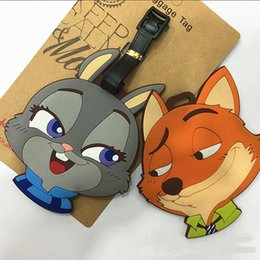 Wholesale Baggage Identification - Baggage Tag Zootopia Tags Animal Metropolitan Fox Rabbit Cartoon Modelling Identification Plastic Luggage Name Bag Card