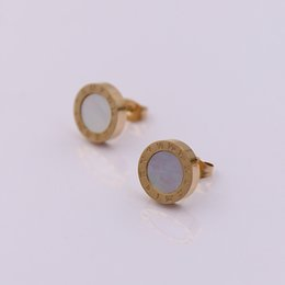 Wholesale Black Onyx Jewelry For Women - Roman numerals shell agate stud earrings for women 316l stainless steel 18k rose yellow gold plated luxury design new fashion hot jewelry