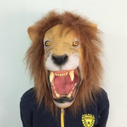 animal fancy dress accessories Coupons - Wholesale-Halloween Props Adult Angry Lion Head Masks Animal Full Latex Masquerade Birthday Party Latex Rubber Face Mask Fancy Dress