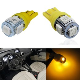 Wholesale 194 Amber Smd - 50pcs car light T10 5050 W5W 5-SMD 194 168 LED Amber Car Side Wedge Tail Light Yellow
