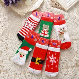 Wholesale Snowflake Stripe - New 6 design kids Christmas cotton socks children cartoon Santa Claus elk stripe snowflake cotton baby socks B001