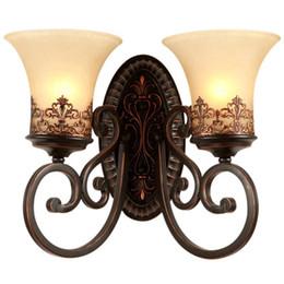 Verspiegelte nachttischlampen online-Amerikanische antike Korridor-Wand-Lampen-europäisches Schlafzimmer-Nachtwand-Licht-Spiegel-vorderes Wohnzimmer-Wand-Beleuchtungs-Befestigungen