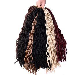 Wholesale Synthetic Hair 18 Pcs - Mtmei hair 10packs Crochet Braid hair 18 inch 100g pcs,24 strands pcs Faux Locs curly Synthetic Braiding Hair extensions