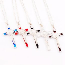 Wholesale Enamel Link Necklace - Silver Plated 5Color Enamel Saint Benedict Medal Italia Crucifix Cross Religious 53.1x29.2mm Pendant Necklaces N1715