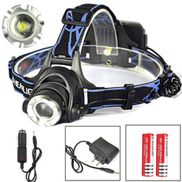Wholesale Led Cree Headlight Flashlight - LED Headlight flashlight 1800LM CREE XM-L XML T6 3 switch Mode Headlamp Zoomable Adjustable headlamp with 2*rechargerable battery + charger