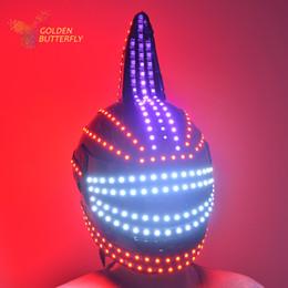 Wholesale Robot Helmet - Wholesale-LED helmet 2016 Unicorn helmet Monochrome Full color luminous Racing helmets RGB Waterfall effect Glowing Party DJ Robot Mask