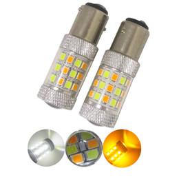 Wholesale 3157 Led Lights Dual Color - 2pcs 1157 BAY15D White Amber Switchback S25 42smd 2835 auto drl light dual color T25 3157 7443 LED Turn led Signal Headlight 12V