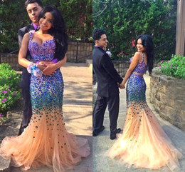 Wholesale royal blue sparkly prom dress - 2017 Luxury Sparkly Rhinestone Crystal Prom Dresses Long Mermaid Two Pieces Prom Gowns Formal Pageant Evening Party Dresses