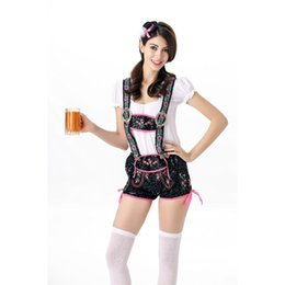 Wholesale Tops Sexy Costumes - New Design Sexy Beer Girl Costume 3 Pieces Germany Oktoberfest Outfits Women White Top Green Overalls Fashion Beer Maid Uniform A415845