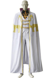 Wholesale Plus Size Halloween Cape - Popular Anime Cos Code Geass Bismarck Waldstein Cosplay Costume Halloween Clothing with Cape White Customize Full Set