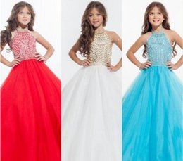 Wholesale Halter Pageant Dresses For Teens - Perfect Angles 2016 Sparkly Beaded Crystal Girls Pageant Dresses for Teens Custom Made Lovely Flower Girls Dresses for Weddings