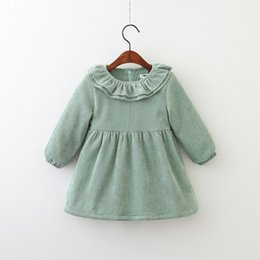 Wholesale Down Double Green - Girls corduroy dress Winter new children double falbala collar long sleeve dress kids thicken fleece warm dress Girl princess dresses A00072