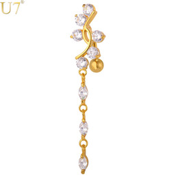 Wholesale Piercing Navel Gold - unique Gold Crystal Long Belly Button Ring 18K Gold Plated  Platinum Trendy Women Summer Gift Navel Ring Piercing Body Jewelry DB002