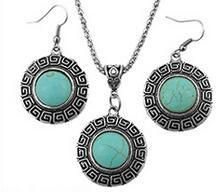Wholesale European Necklace Earring Sets - European and American retro Thai silver antique silver turquoise pendant necklace sets Diamond piece Alloy electroplating Fashion jewelry