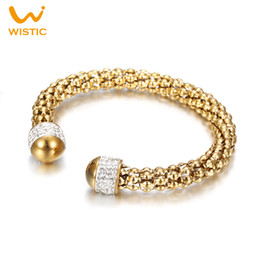 Wholesale Stainless Steel Cable Bracelets - Wholesale- Wistic Charm Bracelets & Bangles Stainless Steel Crystal Glue Cable Open End Twisted Cuff Bracelet Gift for Women Female Ladies