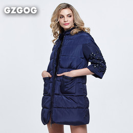 Wholesale Parka Crystal - Wholesale-womens winter jackets and coats 3 4 sleeve solid color with crystal long coat parkas thickening Female Warm Clothes High Quality