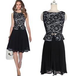 Wholesale Ladies Formal Wear Dresses - New Arrival Women Black Work Dress Slim Chiffon Lace One Piece Dresses Ladies Formal Party Peplum Dress OL Office Dress MNDF0510