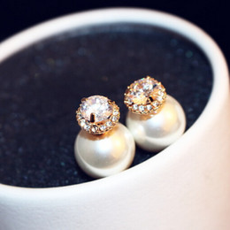 Wholesale Earring Studs For Sale - Hot Sale Luxury Top Quality Pearl Earrings Fashion Double Color Double Sided Earrings Zircon Stud Earrings Jewelry for Women Party as gift