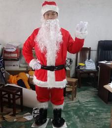 Wholesale Body Suit Cosplay - New Christmas Santa Claus Costumes Set 9pcs full body suit Mascot Costume Cosplay with White Beard Christmas Costume Factory salecs