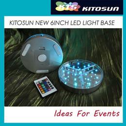 Wholesale Crystal Rotary Led - Wireless Remote Control crystal rotary LED Light Base For Vases Up Lighting Centerpiece Decor Round LED Light Base