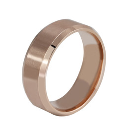 Wholesale Tungsten Rings Rose Gold - 8MM Stainless Steel Rose Gold Mens Fashion Band Ring Beveled Edges Rose Gold Plated Ring Tungsten Carbide Wedding Band