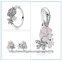 Wholesale Bloom Party - 925 Sterling Silver Ring & Earrings and Jewelry Charms Pendant Sets with Box Fits European Jewelry Bracelets & Necklaces-Poetic Blooms