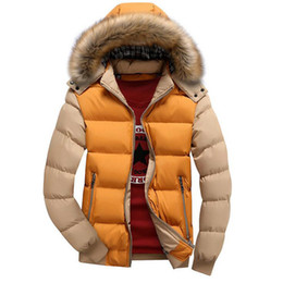 Wholesale Mens Padded Jackets - 2017 New Patchwork With Fur Hood Collar Jacket Men Winter Coats Casual Slim Fit Cotton-Padded Mens Jackets And Coat Parkas 4XL
