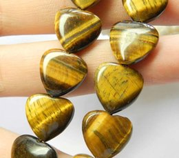 Wholesale Loose Beads Gemstones Free Shipping - free shipping natural beautiful Jewelry NEW 1 Strand New 15mm Natural Yellow Tiger's Eye Gemstone Heart Loose Bead 15 ''