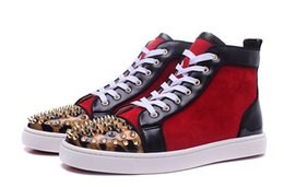 Wholesale Leopard Spike Shoes - New Fashion High Top Red Suede With Black Leather Red Bottom Shoes Hot Leopard Print Patent Toe With Gold Spikes Flats Party Shoes